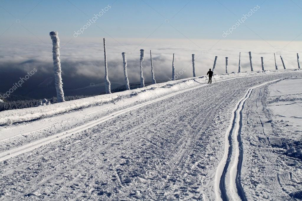 Cross Country Skiing on the Praded Mountain