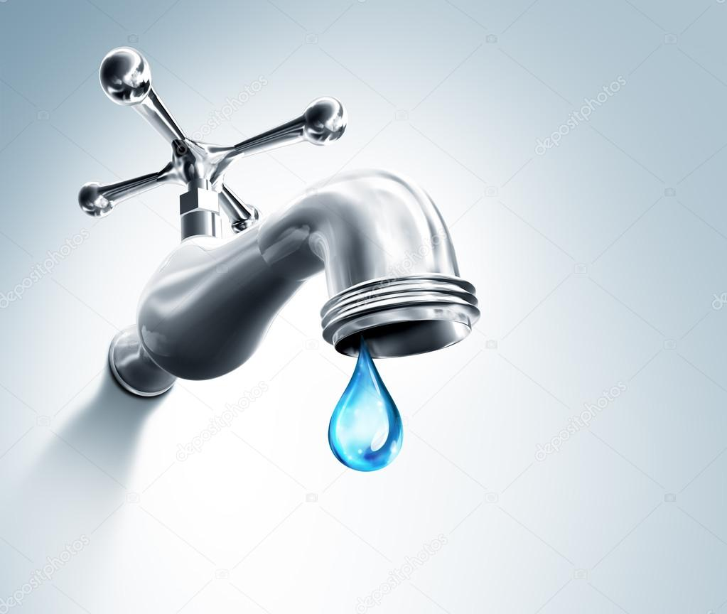 Leaking Faucet A Droplet Of Water — Stock Photo © rfphoto #103566388