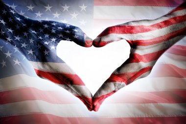 Love And Patriotism - Usa Flag On Heart Shaped Hands stock vector