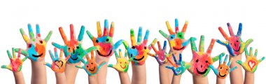 Hands Painted With Smileys stock vector