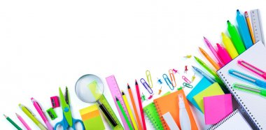 Border School Supplies - Top View With Objects Isolated On White