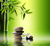 Fotografie Spa background with bamboo and stones on water