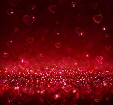 Valentine background with blur hearts