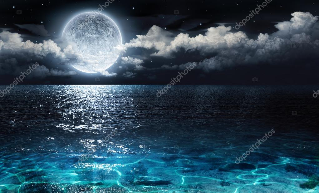 Фотообои Romantic and scenic panorama with full moon on sea to night