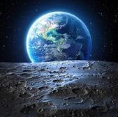Modrá země pohled z povrchu měsíce - Usa