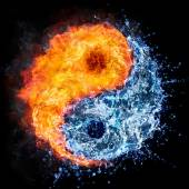 Photo fire and water - yin yang concept - tao symbol
