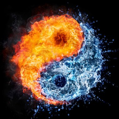 fire and water - yin yang concept - tao symbol