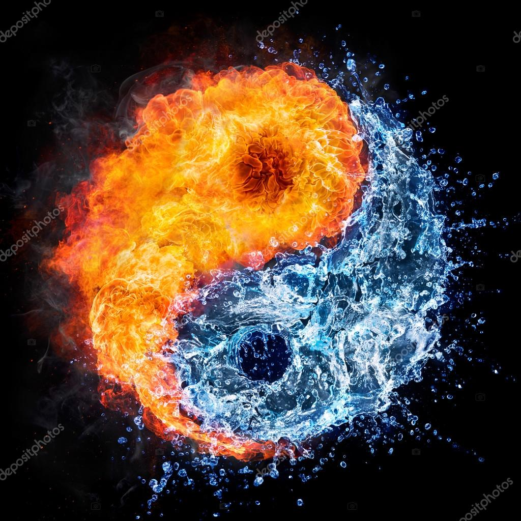 Fire And Water Yin Yang Concept Tao Symbol Stock Photo