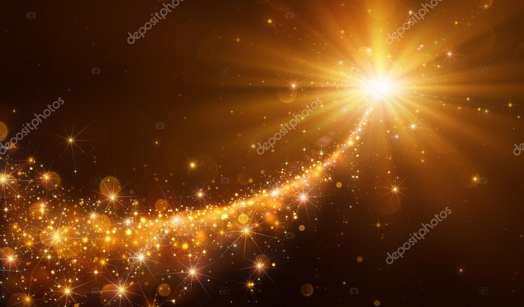 Star Christmas With Golden Glitter