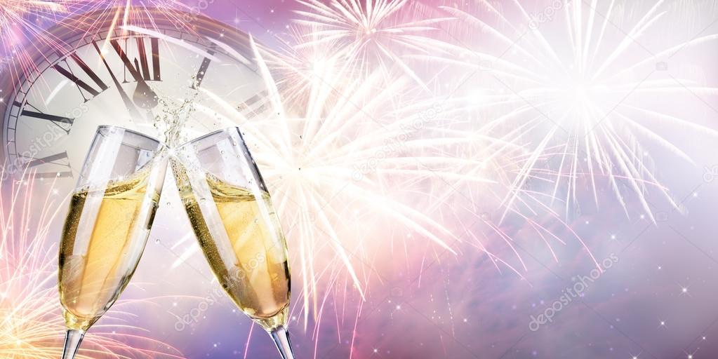 Toast With Fireworks And Champagne At Midnight — Stock Photo ...
