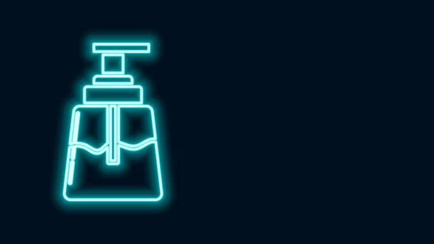 Glowing neon line Aftershave icon isolated on black background. Cologne spray icon. Male perfume bottle. 4K Video motion graphic animation