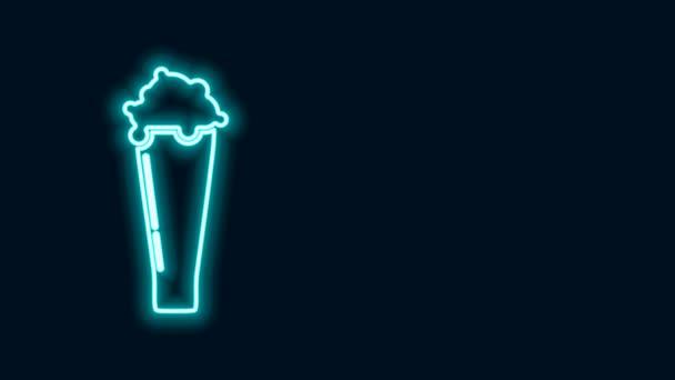 Leuchtende Neon-Linie Glas des Bier-Symbols isoliert auf schwarzem Hintergrund. 4K Video Motion Grafik Animation