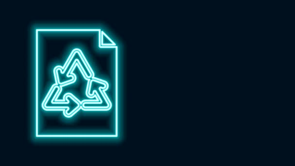 Glowing neon line Paper with recycle icon isolated on black background. 4K Video motion graphic animation