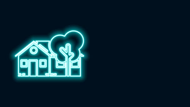 Glowing neon line Eco friendly house icon isolated on black background. Eco house with tree. 4K Video motion graphic animation