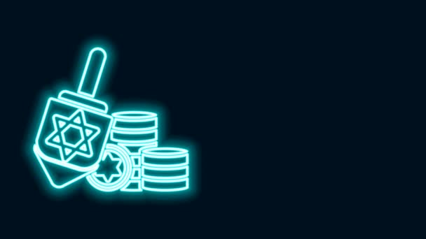 Glowing neon line Hanukkah dreidel and coin icon isolated on black background. 4K Video motion graphic animation