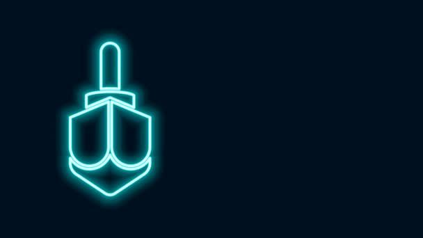 Glowing neon line Hanukkah dreidel icon isolated on black background. 4K Video motion graphic animation