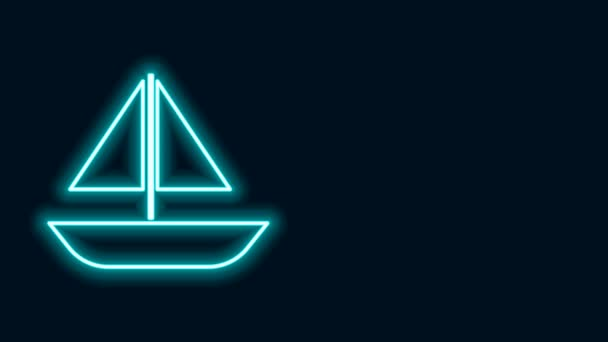 Glowing neon line Yacht sailboat or sailing ship icon isolated on black background. Sail boat marine cruise travel. 4K Video motion graphic animation