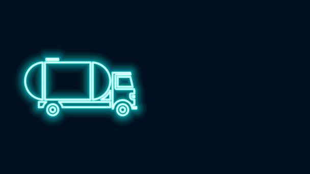 Zářící neonová čára Nákladní vůz ikona izolované na černém pozadí. Ropný tanker, benzinový náklaďák, cisterna, ropný přívěs. Grafická animace pohybu videa 4K