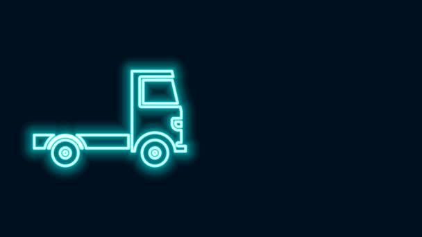 Leuchtende Leuchtschrift Lieferung Lastkraftwagen-Symbol isoliert auf schwarzem Hintergrund. 4K Video Motion Grafik Animation