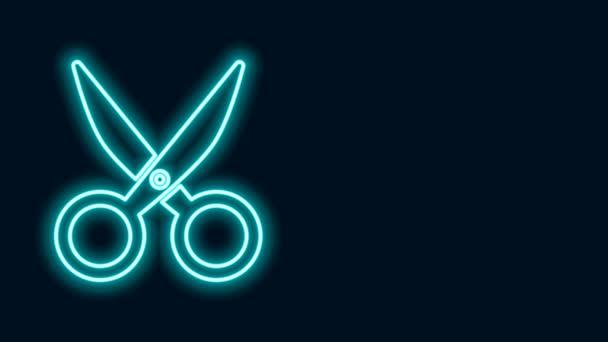 Ragyogó neon vonal Olló ikon elszigetelt fekete háttér. Vágószerszám jel. 4K Videó mozgás grafikus animáció