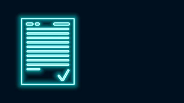 Leuchtende Leuchtschrift Prüfungsblatt mit Häkchen Symbol isoliert auf schwarzem Hintergrund. Prüfungsarbeit, Prüfungskonzept oder Umfragekonzept. Schultest oder Prüfung. 4K Video Motion Grafik Animation