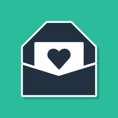 Blue Envelope with Valentine heart icon isolated on green background. Message love. Letter love and romance.  Vector. icon