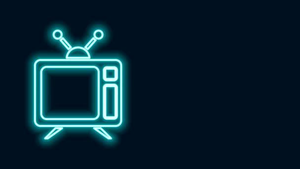 Ragyogó neon vonal Tv ikon elszigetelt fekete háttér. Televíziós jel. 4K Videó mozgás grafikus animáció
