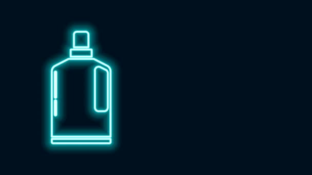 Glowing neon line Plastic bottle for liquid laundry detergent, bleach, dishwashing liquid or another cleaning agent icon isolated on black background. 4K Video motion graphic animation