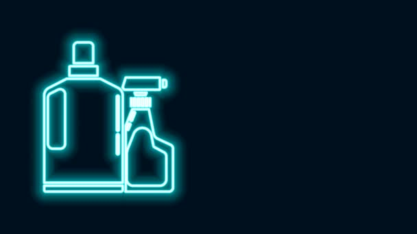 Glowing neon line Plastic bottles for liquid laundry detergent, bleach, dishwashing liquid or another cleaning agent icon isolated on black background. 4K Video motion graphic animation