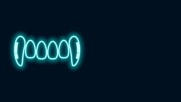 Leuchtende Neon-Linie Vampirzähne Symbol isoliert auf schwarzem Hintergrund. Frohe Halloween-Party. 4K Video Motion Grafik Animation