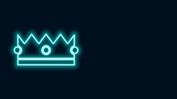 Ragyogó neon vonal Crown ikon elszigetelt fekete háttérrel. 4K Videó mozgás grafikus animáció