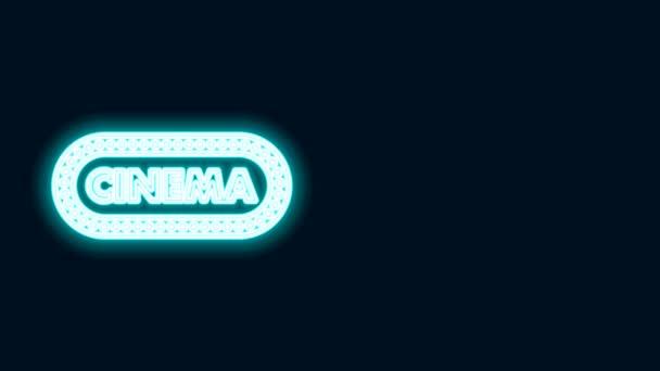 Leuchtende Neon Line Cinema Poster Design Template Symbol isoliert auf schwarzem Hintergrund. Filmzeit-Konzept Banner-Design. 4K Video Motion Grafik Animation