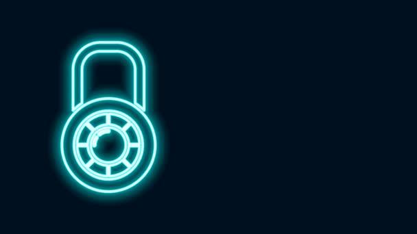 Žhnoucí neonová čára Bezpečná kombinace zámek ikona kola izolované na černém pozadí. Kombinovaný visací zámek. Bezpečnost, ochrana, heslo, soukromí. Grafická animace pohybu videa 4K