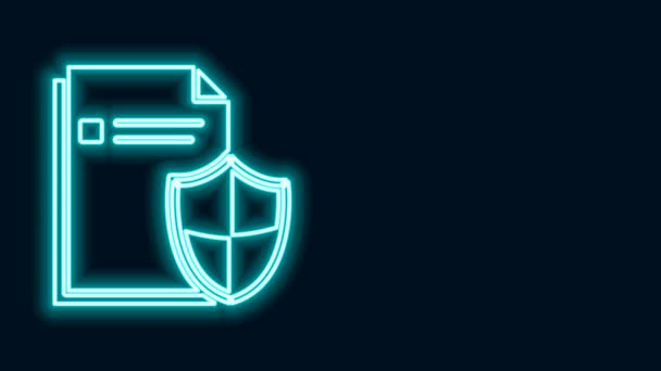 Zářící neonový řádek Ikona konceptu ochrany dokumentů izolovaná na černém pozadí. Důvěrné informace a soukromí, bezpečné, stráže, štít. Grafická animace pohybu videa 4K