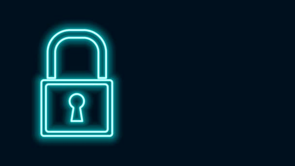 Ragyogó neon vonal Lock ikon elszigetelt fekete háttér. Lakat jel. Biztonság, biztonság, védelem, adatvédelem. 4K Videó mozgás grafikus animáció