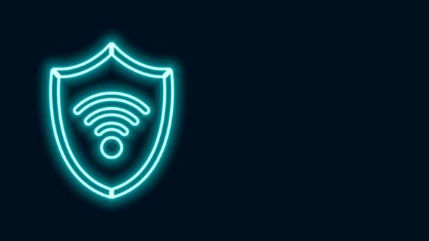Leuchtendes Neon Line Shield mit WiFi Wireless Internet Network Symbol isoliert auf schwarzem Hintergrund. Schutzsicherheitskonzept. 4K Video Motion Grafik Animation