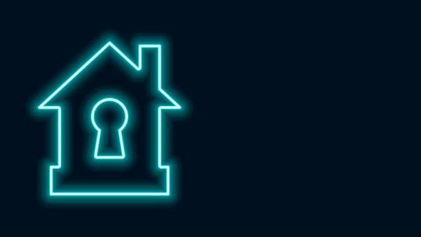 Leuchtende Neon Line House unter Schutz Symbol isoliert auf schwarzem Hintergrund. Schutz, Sicherheit, Sicherheit, Schutz, Verteidigungskonzept. 4K Video Motion Grafik Animation