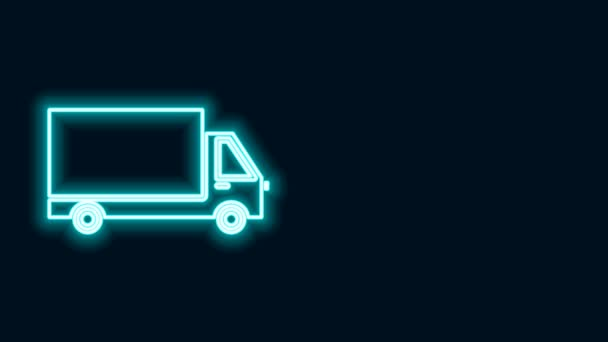 Glowing neon line Delivery cargo truck vehicle icon isolated on black background. 4K Video motion graphic animation