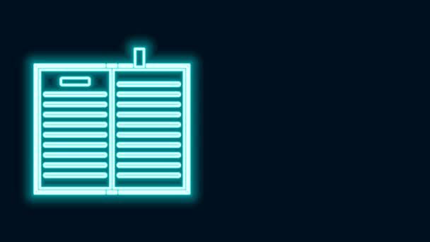 Ragyogó neon vonal Nyílt tudomány könyv ikon elszigetelt fekete háttérrel. 4K Videó mozgás grafikus animáció