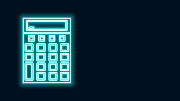 Glowing neon line Calculator icon isolated on black background. Accounting symbol. Business calculations mathematics education and finance. 4K Video motion graphic animation
