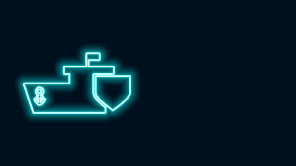 Glowing neon line Ship with shield icon isolated on black background. Insurance concept. Security, safety, protection, protect concept. 4K Video motion graphic animation