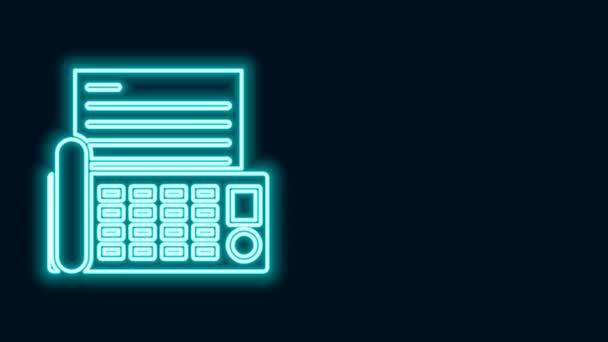 Leuchtendes neonliniges Faxgerät-Symbol isoliert auf schwarzem Hintergrund. Bürotelefon. 4K Video Motion Grafik Animation