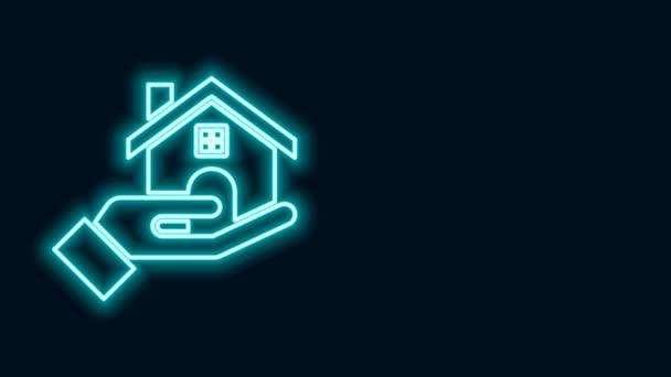 Žhnoucí neonová čára Ikona realitní kanceláře izolované na černém pozadí. Kupuje dům. Grafická animace pohybu videa 4K