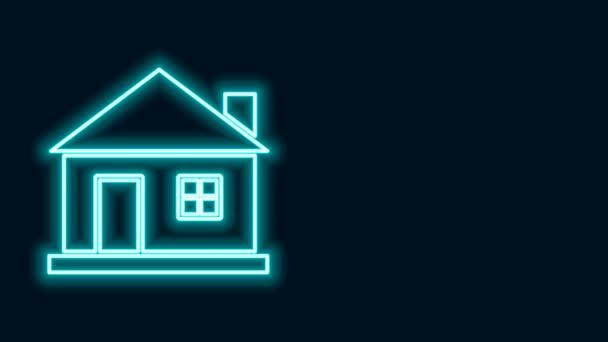 Ragyogó neon vonal Ház ikon elszigetelt fekete háttér. Otthon szimbólum. 4K Videó mozgás grafikus animáció