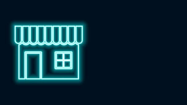 Žhnoucí neonová čára Nákupní budova nebo ikona obchodu izolované na černém pozadí. Výstavba obchodu. Grafická animace pohybu videa 4K