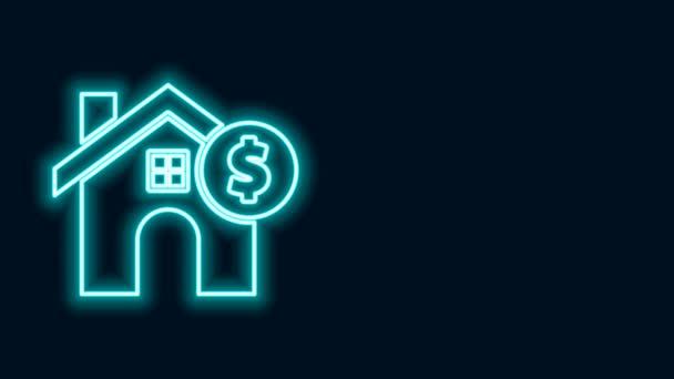 Leuchtende Leuchtschrift Haus mit Dollar-Symbol Symbol isoliert auf schwarzem Hintergrund. Heimat und Geld. Immobilienkonzept. 4K Video Motion Grafik Animation