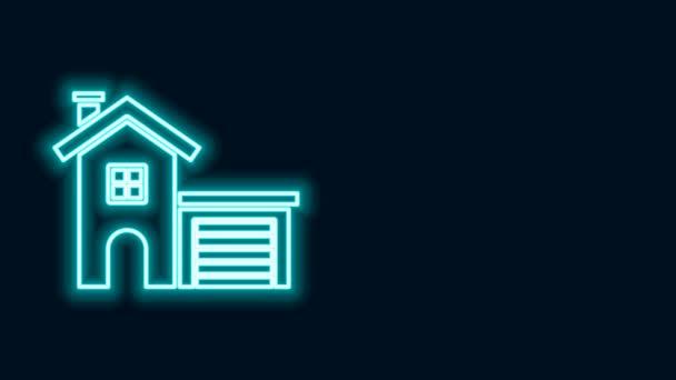 Zářící neonová čára Dům ikona izolované na černém pozadí. Domácí symbol. Grafická animace pohybu videa 4K