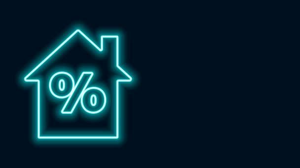 Žhnoucí neonovou linku Dům s výraznou ikonu slevové značky izolované na černém pozadí. Procentuální cena domu. Realitní dům. Grafická animace pohybu videa 4K
