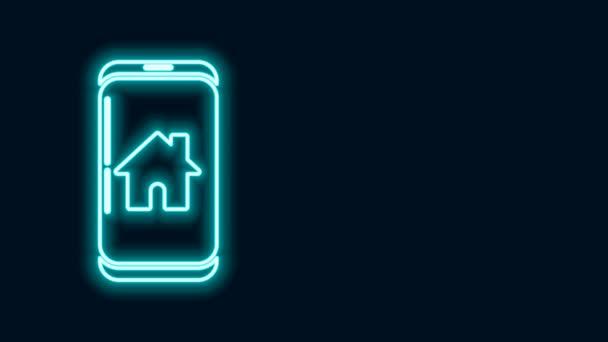Leuchtende Leuchtschrift Mobiltelefon mit Smart-Home-Symbol isoliert auf schwarzem Hintergrund. Fernbedienung. 4K Video Motion Grafik Animation