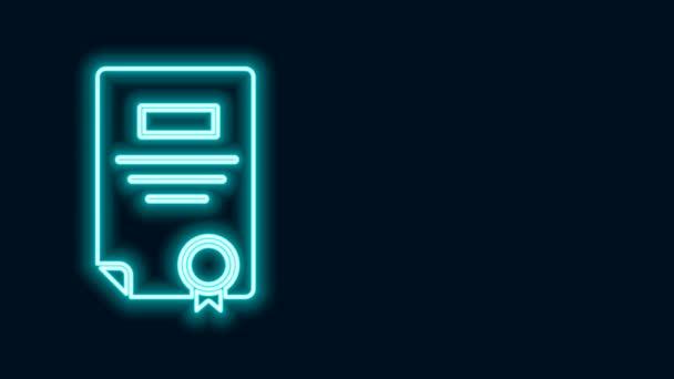 Ragyogó neon vonal Tanúsítvány sablon ikon elszigetelt fekete háttér. Teljesítmény, díj, diploma, ösztöndíj, diploma. Üzleti siker tanúsítvány. 4K Videó mozgás grafikus animáció
